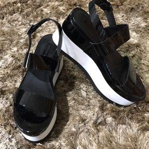 Forever 21 Black/White Patent Flatform Sandals